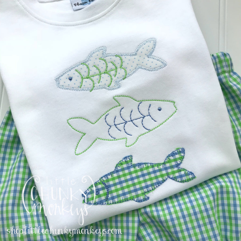 Boy Outfit - Boy Summer Shirt - Boy Fish Trio Applique Shirt