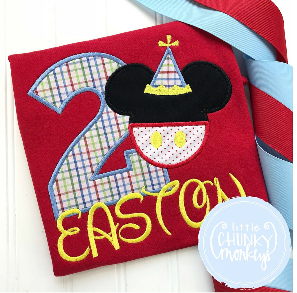 Boy Outfit - Boy Shirt - Birthday Mouse with Party Hat + Personalization on Red Shirt