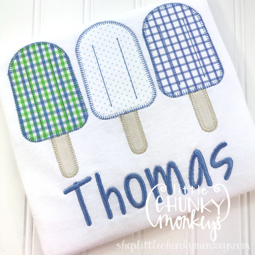 Boy Outfit - Boy Shirt - Boy Popsicle Trio Applique Shirt