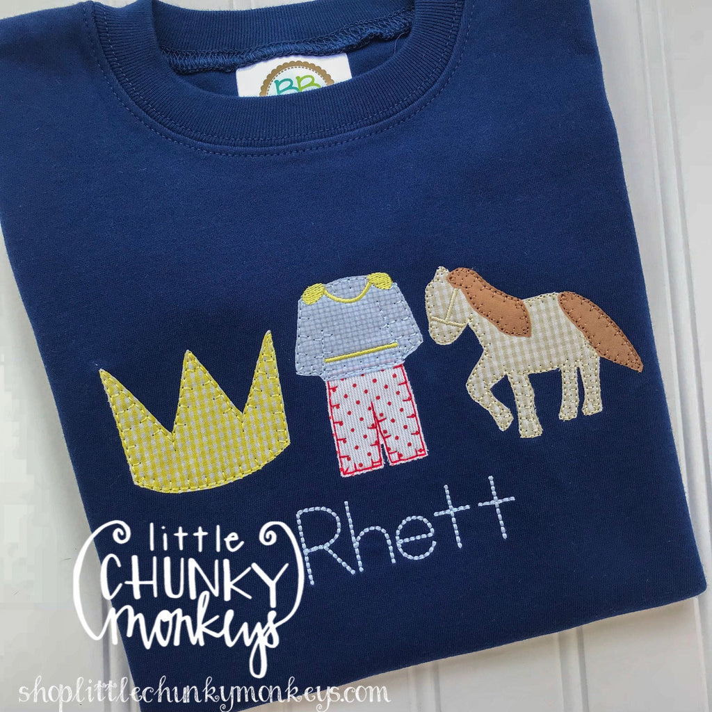 Boy Outfit - Boy Shirt - Prince Trio on Navy Blue Shirt