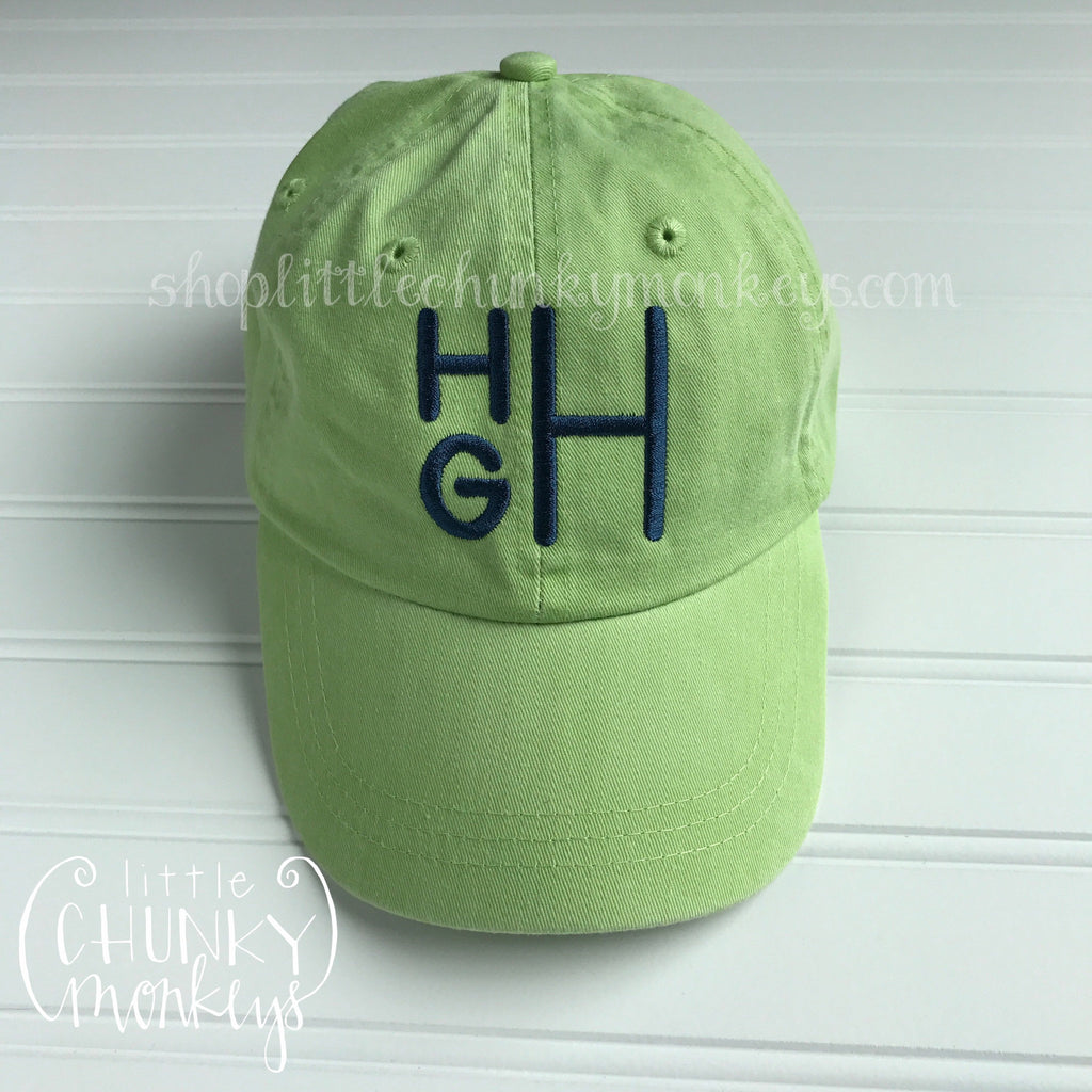 Toddler Kid Hat - Stacked monogram on lime