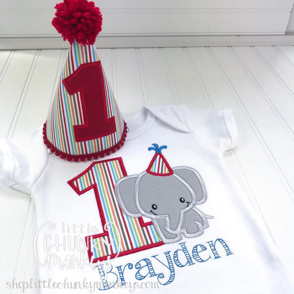 Boy Outfit - Boy Birthday Shirt - Boy Elephant Birthday Shirt