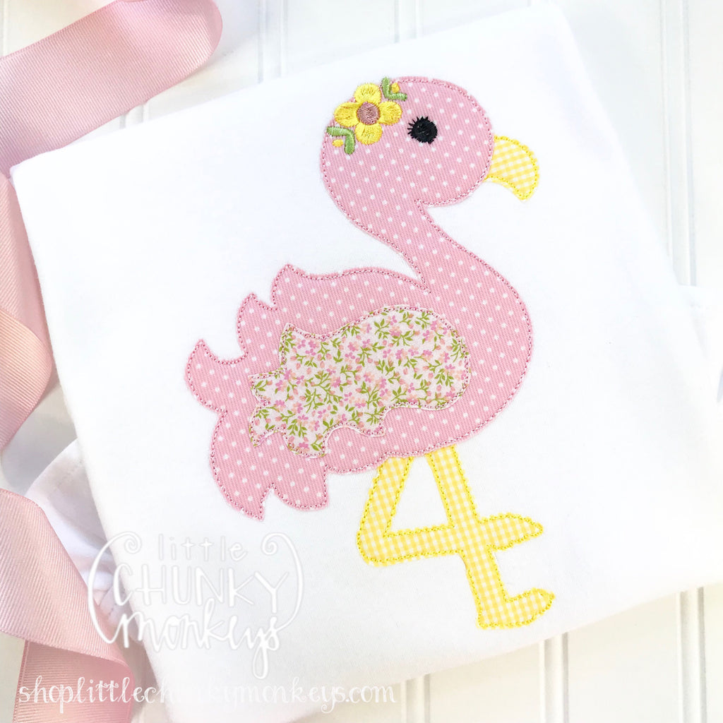 Girl outfit - Girl Shirt - Girl Flamingo with Floral Applique Shirt