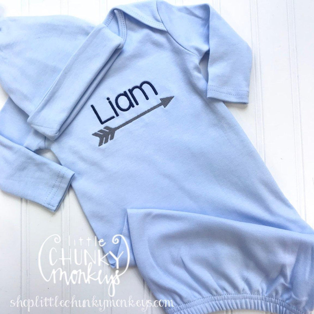 Baby Boy Gown - Bring Home Outfit - Personalized Newborn Gown with Arrow + Cap in Light Blue
