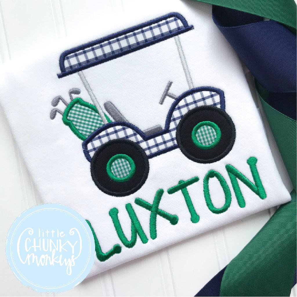 Boy Outfit - Golf Shirt - Navy and Green Golf Cart Shirt with Personalization