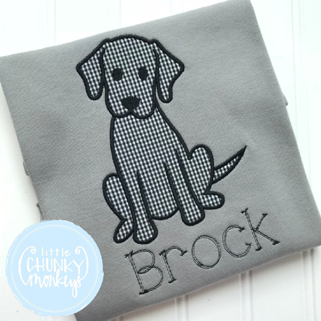 Boy Outfit - Boy Shirt - Puppy with Personalization on Grey Shirt