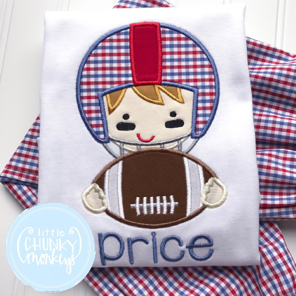Boy Outfit - Red and Blue Football Player Applique Shirt