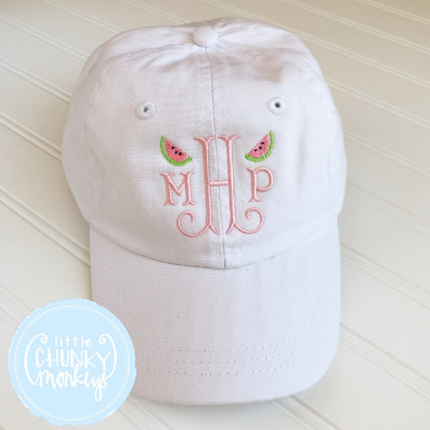 Toddler Kid Hat - Monogram with Watermelon Mini's on White Hat