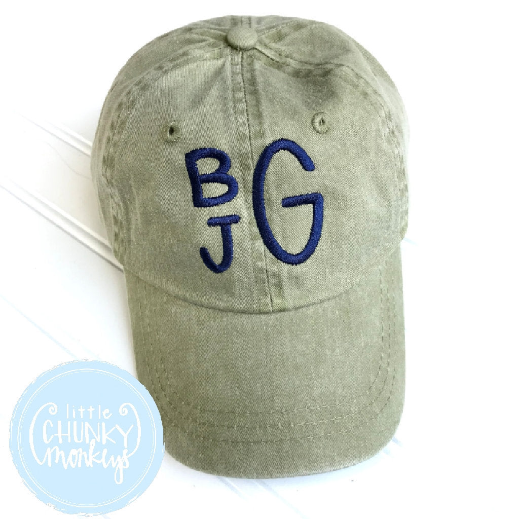 Toddler Kid Hat - Navy Stacked Monogram on Olive Hat