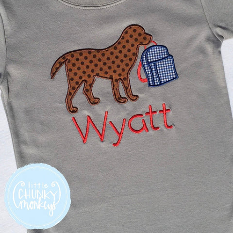 Boy Shirt - Back To School Shirt - Dog with Backpack + Personalization Applique Shirt on Grey