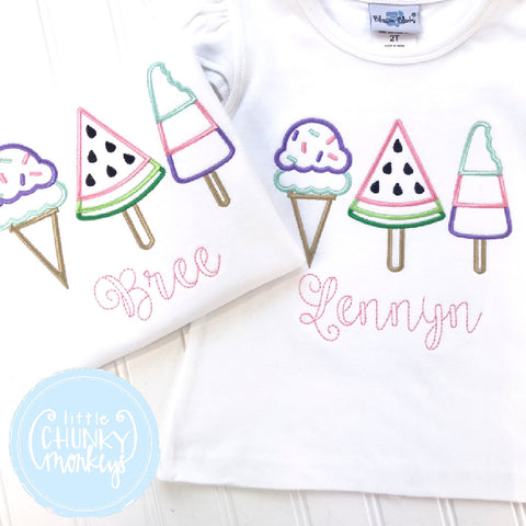 Girl outfit - Girl Shirt - Girl Ice Cream + Watermelon Trio Applique Shirt
