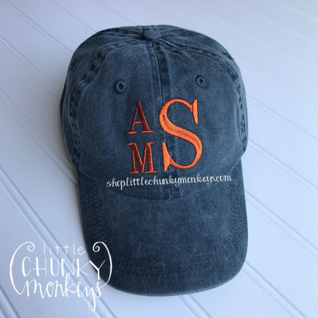 Toddler Kid Hat with Personalization - Stacked Monogram on Navy Hat
