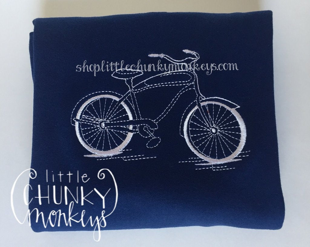 Boy Outfit - Boy Shirt - Personalized Stitch Bicycle Tee on Navy Shirt