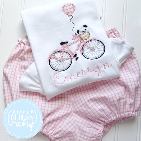 Girl outfit - Girl Shirt - Girl Puppy on Bicycle Applique Shirt