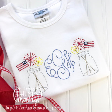 Girl outfit - Girl Shirt - Monogram Tee with Patriotic Mason Jars