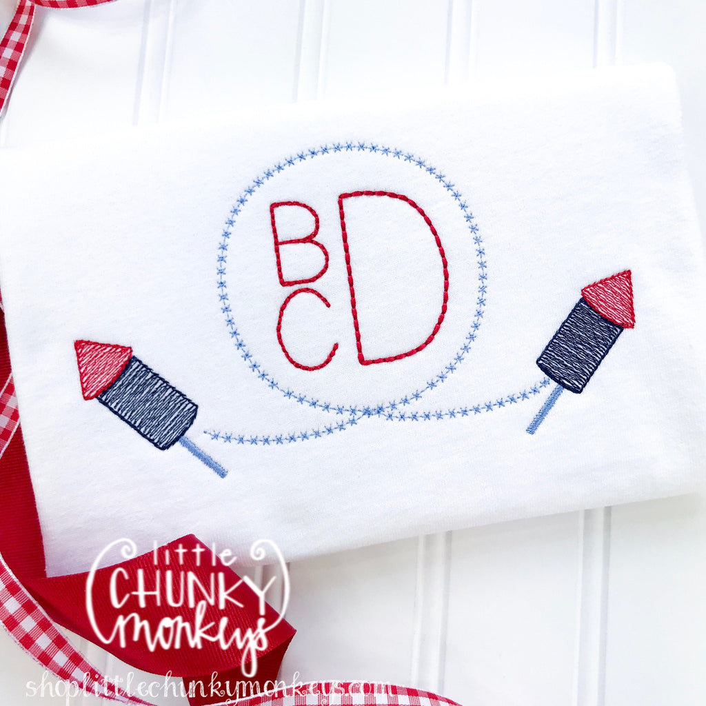 Boy Outfit - Boy Shirt - Boy Monogram Circle with Fireworks