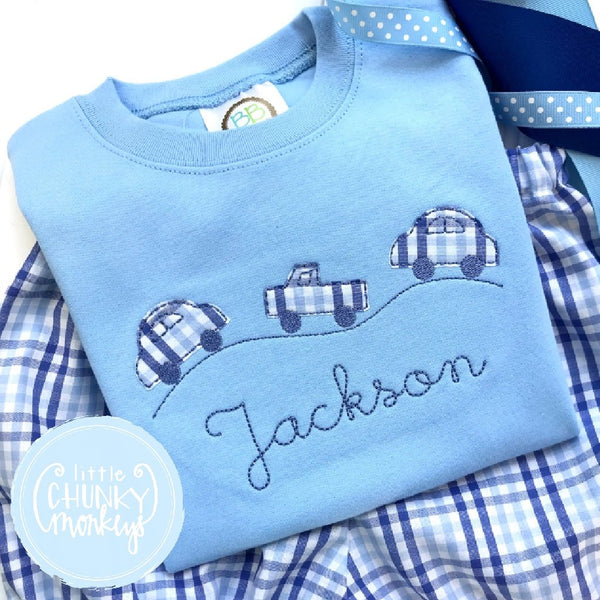 Boy Outfit - Boy Shirt - Cars on Road Trio and Personalization on Light Blue