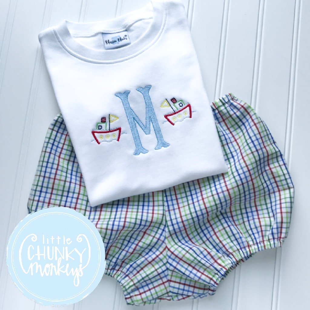 Boy Outfit - Personalized Boy Shirt - Initial with Tugboat Mini's