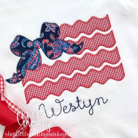 Girl Outfit - Girl Shirt - Girl Patriotic Flag with Bow Applique Shirt