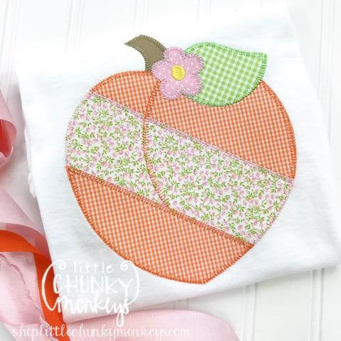 Girl Outfit - Girl Shirt - Girl Floral Peach Applique