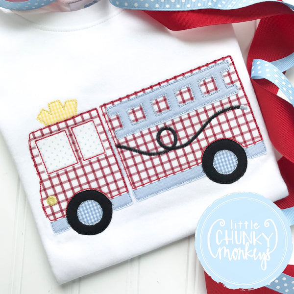 Boy Outfit - Boy Shirt - Boy Fire Truck Applique Shirt with Blue Detail