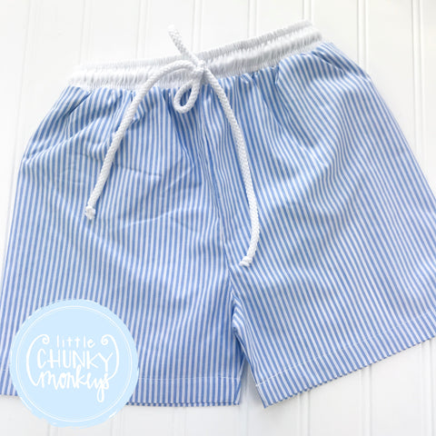 Boy Swimwear - Boy Swim Shorts - Blue Seersucker