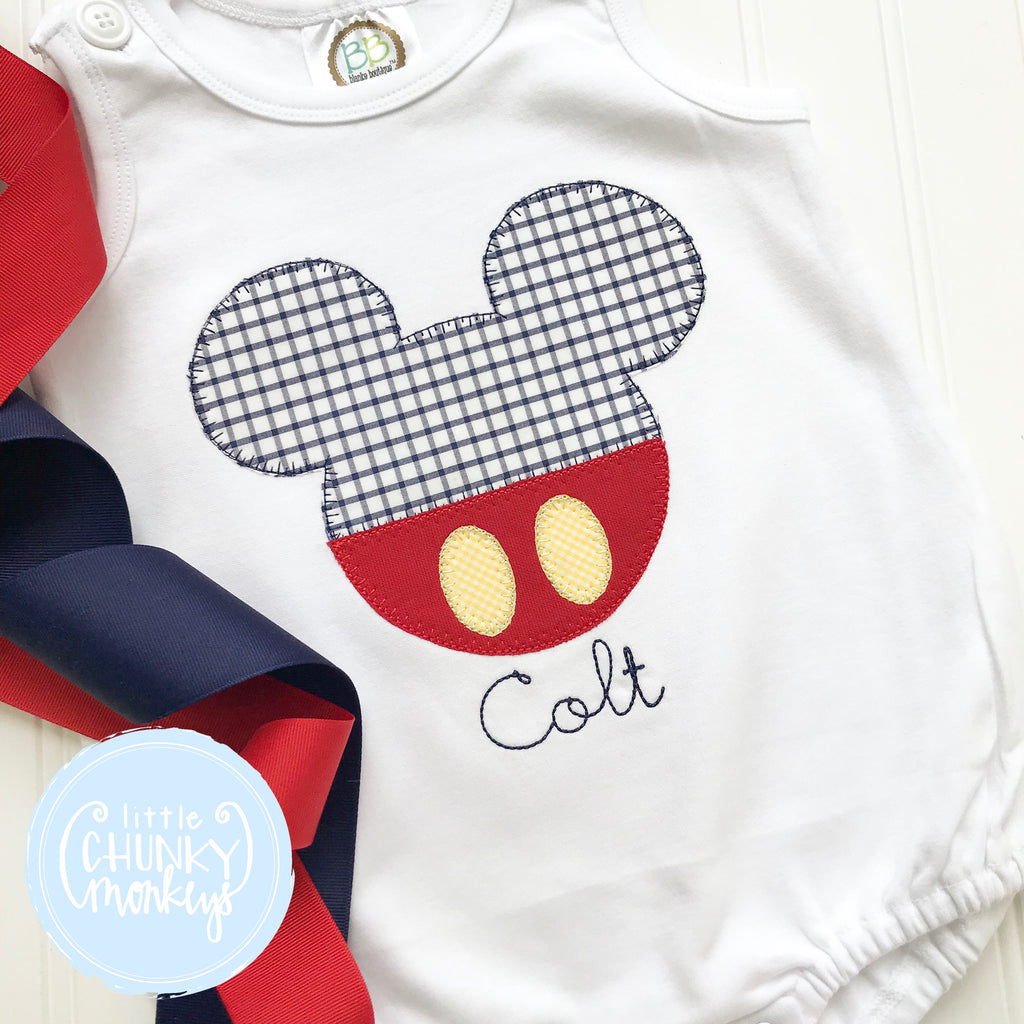 Boy Outfit - Boy Sun Bubble - Boy Mouse with Trousers and Personalization Applique Sun Bubble