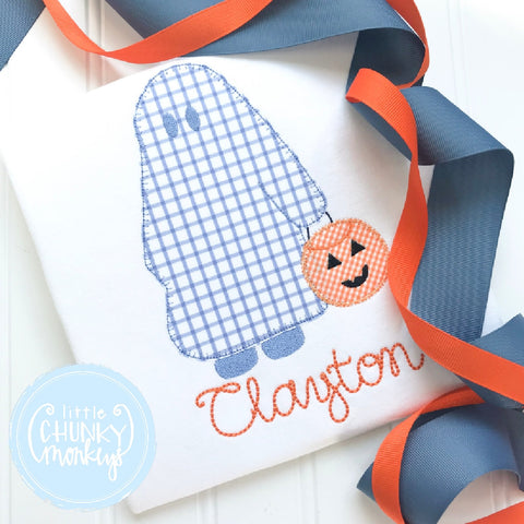 Boy Outfit - Boy Halloween Shirt - Trick or Treating Sheet Ghost with Personalization