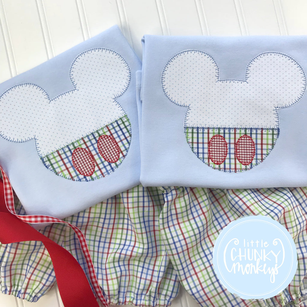 Boy Outfit - Boy Shirt - Boy Mouse with Plaid Trousers Applique on Light Blue Shirt