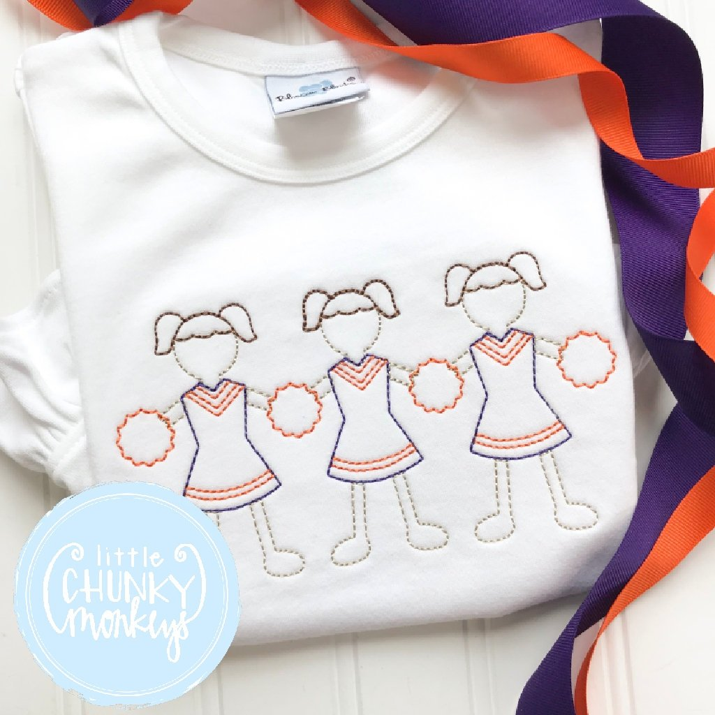Girl Outfit - Orange and Purple Paperdoll Cheerleader Trio Shirt
