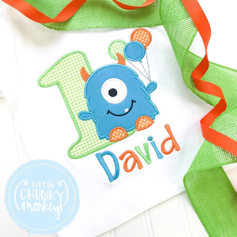Boy Outfit - Boy Birthday Shirt - One Eyed Monster Birthday Shirt + Personalization