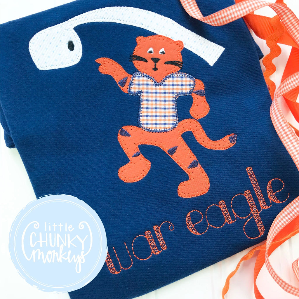 Boy Outfit - Boy Shirt - Vintage Tiger Tee with War Eagle on Navy