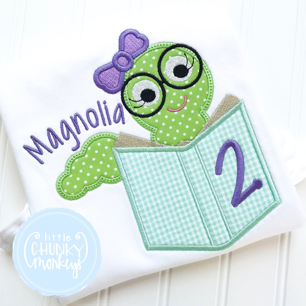 Girl Outfit - Girl Shirt - Girl Book Worm Shirt with Personalization