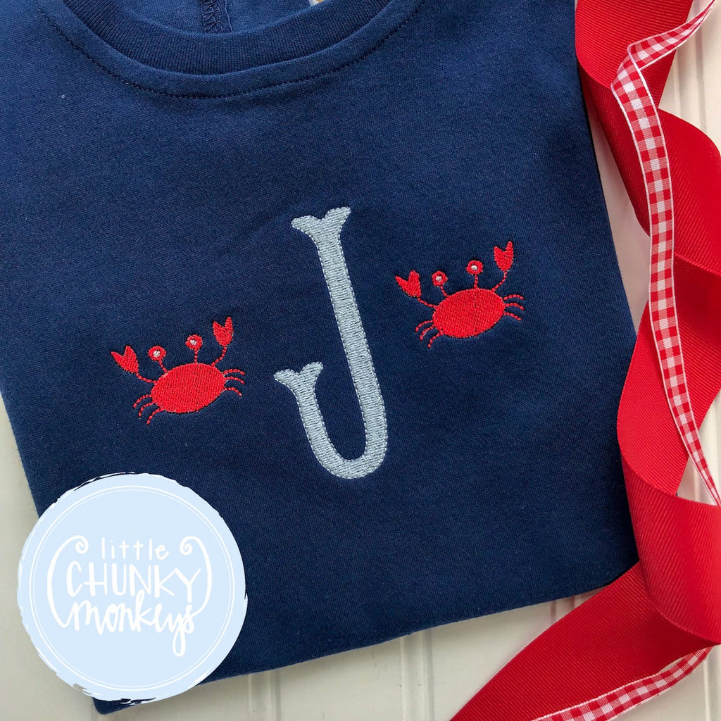 Boy Outfit - Boy Summer Shirt - Single Monogram with Crab Minis on Navy Blue Shirt