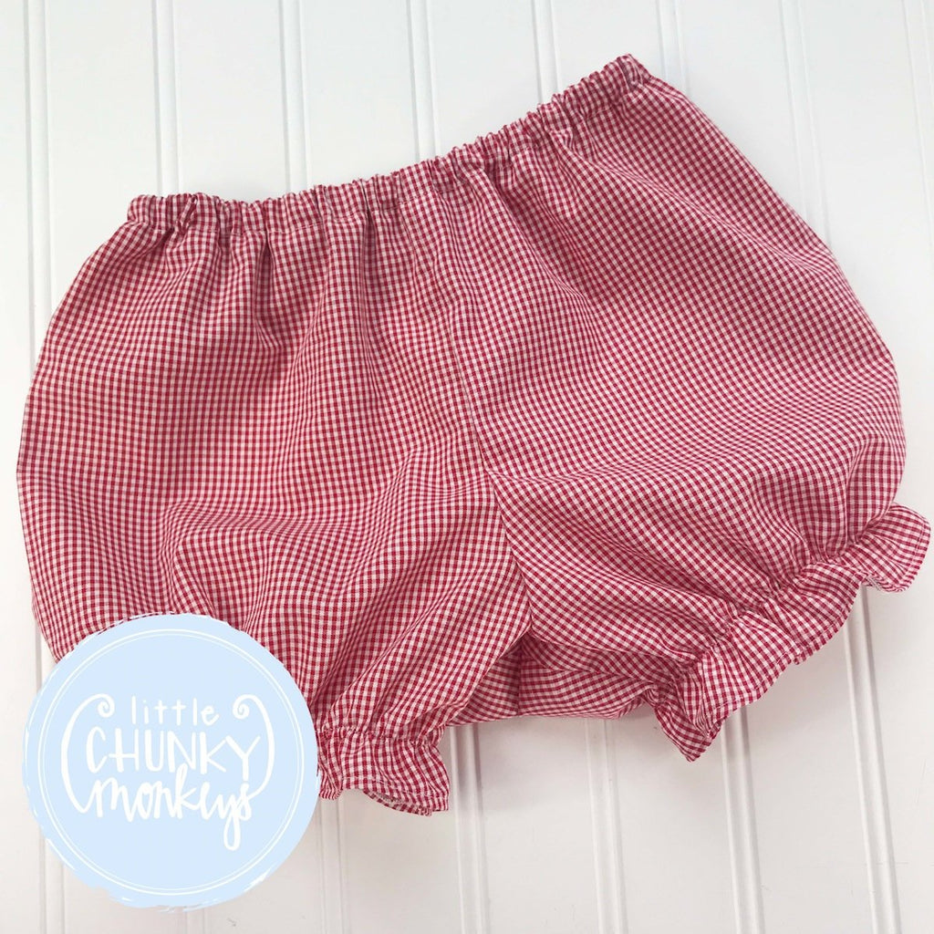 Girl Caroline Ruffle Bloomers - Gingham in Red