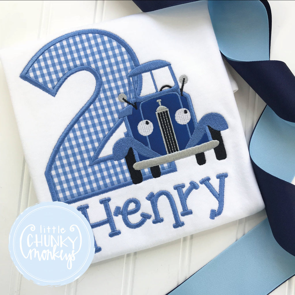 Boy Outfit - Boy Birthday Shirt - Vintage Car with Personalization