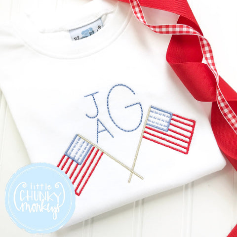 Boy Outfit - Personalized Boy Shirt -  Stacked Monogram with Flags