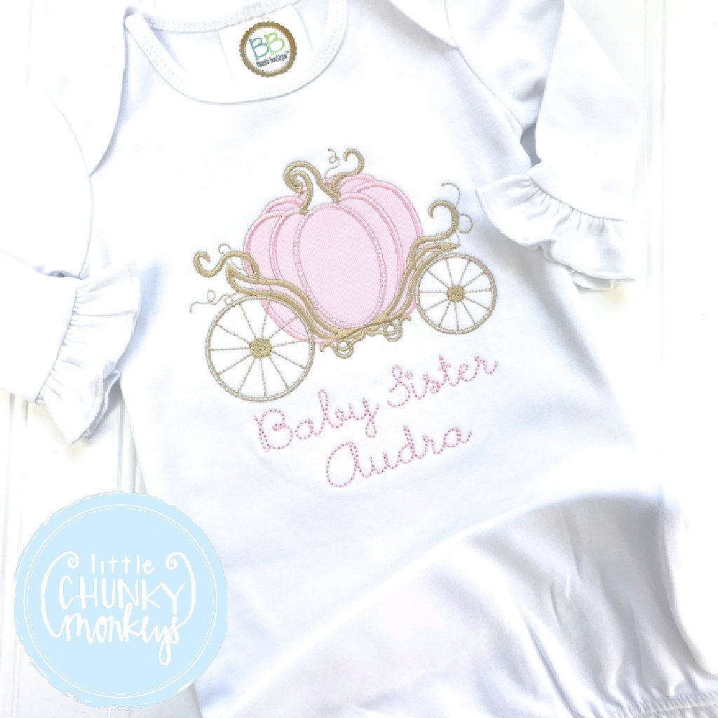 Baby Girl Gown - Bring Home Outfit - Personalized Newborn Gown with Carriage + Personalization