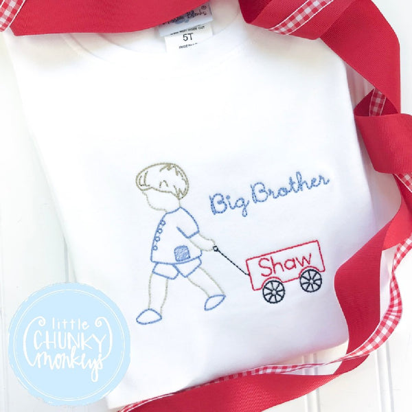 Boy Outfit - Boy Shirt - Big Brother Pulling Wagon Applique Shirt