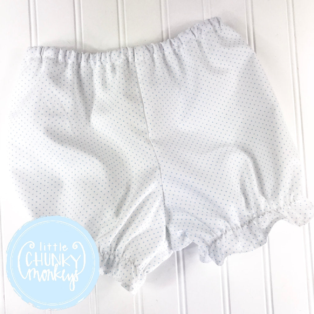Girls Caroline Ruffle Bloomers - White with Light Blue Pinhead Dots