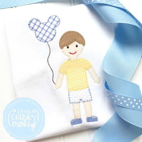 Boy Outfit - Personalized Boy Shirt - Boy with Mouse Balloon