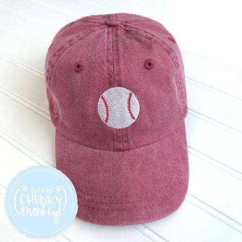 Toddler Kid Hat - Baseball on Maroon Hat
