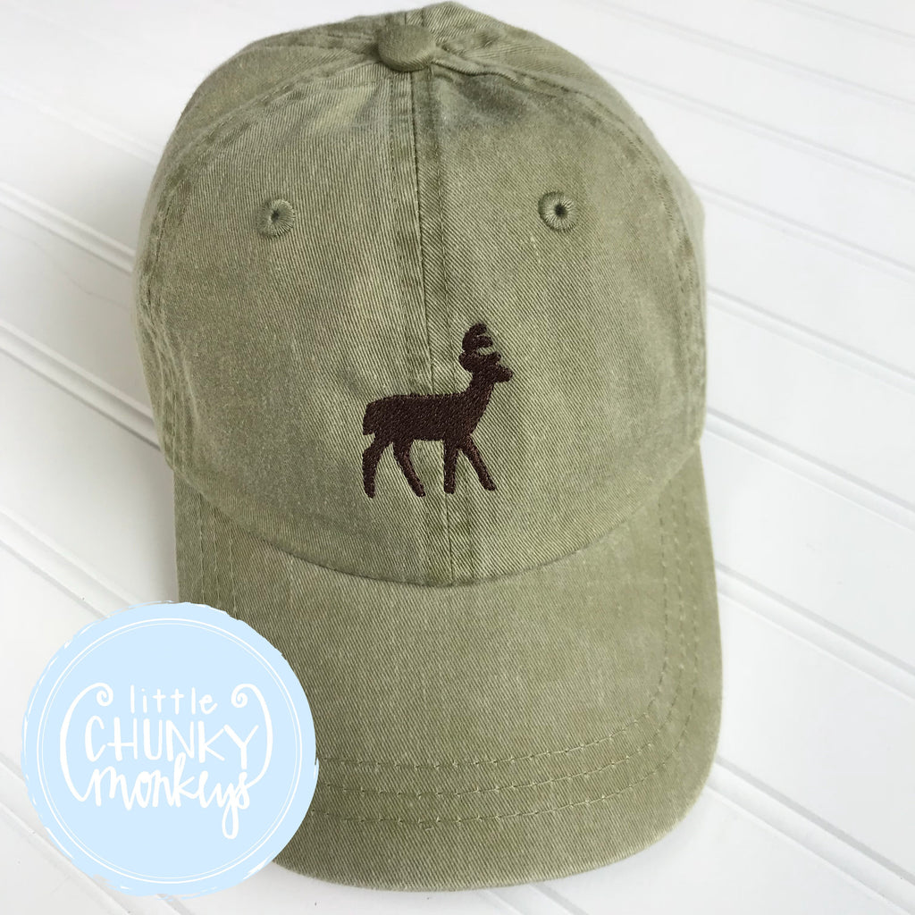 Toddler Kid Hat - Deer on Olive Hat