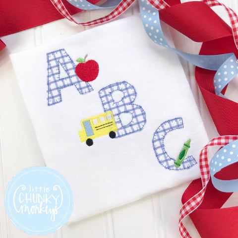 Boy Outfit - Back To School Shirt - Windowpane ABC Applique Shirt