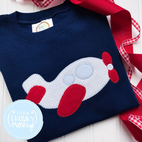Boy Outfit - Boy Shirt - Personalized Vintage Airplane Tee on Navy