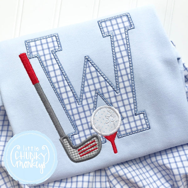 Boy Outfit - Boy Shirt - Golf Club with Tee and Initial on Light Blue