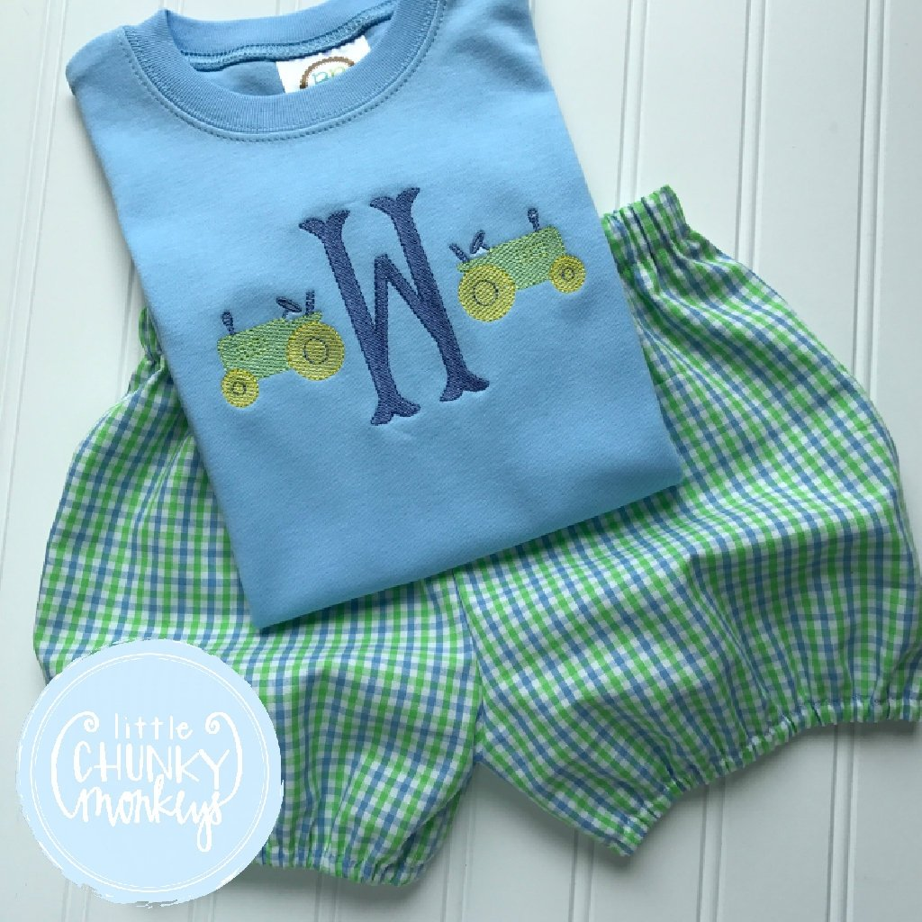 Boy Outfit - Boy Shirt - Initial Tee with Tractor Mini's on Light Blue