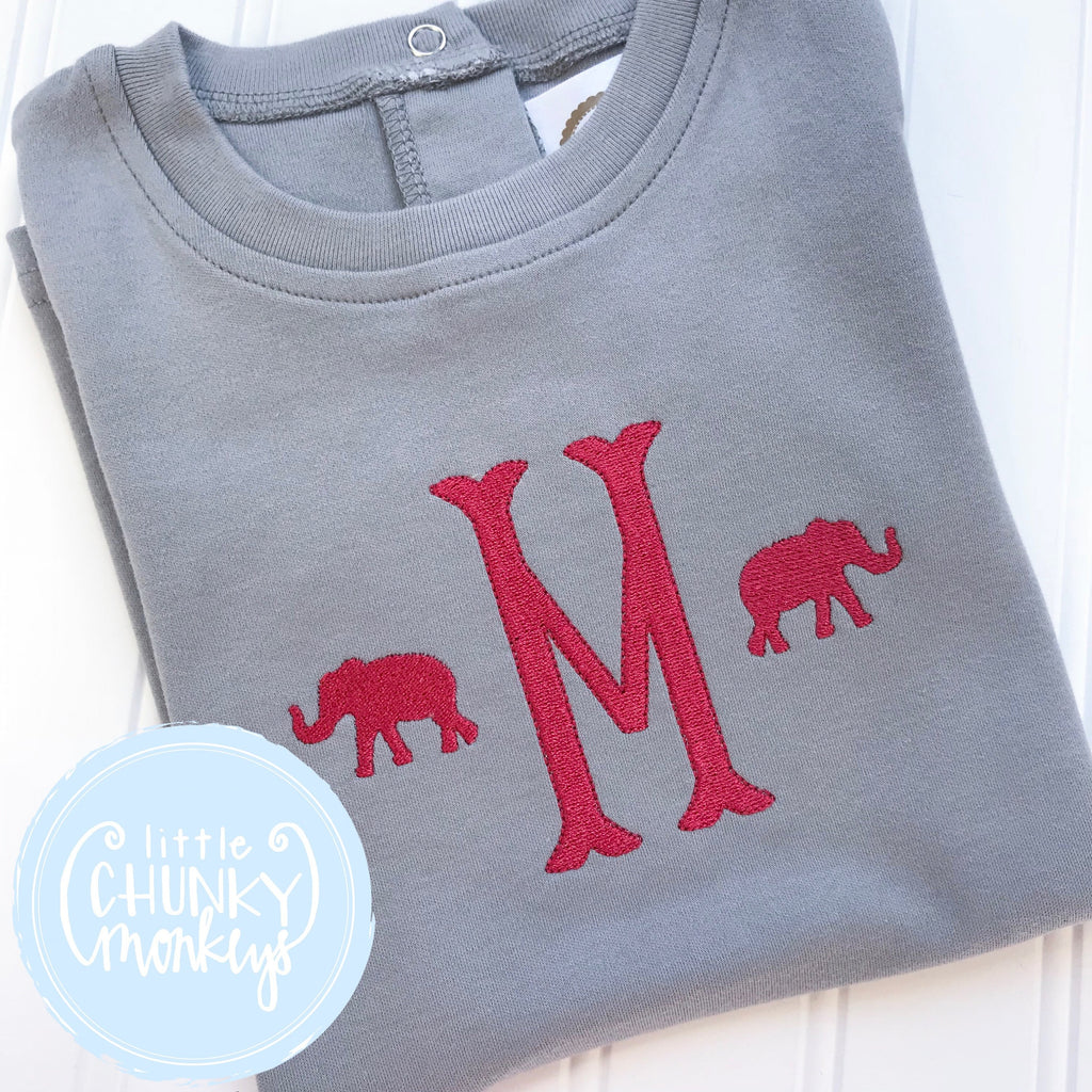 Boy Shirt - Gray shirt with Crimson Initial and Elephants