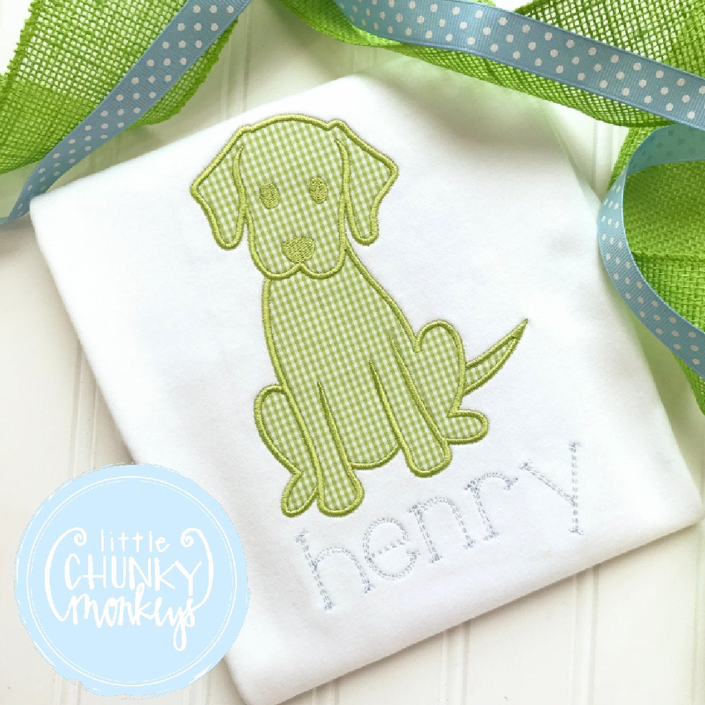 Boy Outfit - Boy Shirt - Green Puppy with Personalization