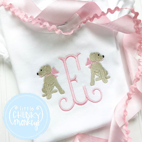 Girl outfit - Girl Shirt - Single Initial Monogram Tee with Sitting Puppies and Bows